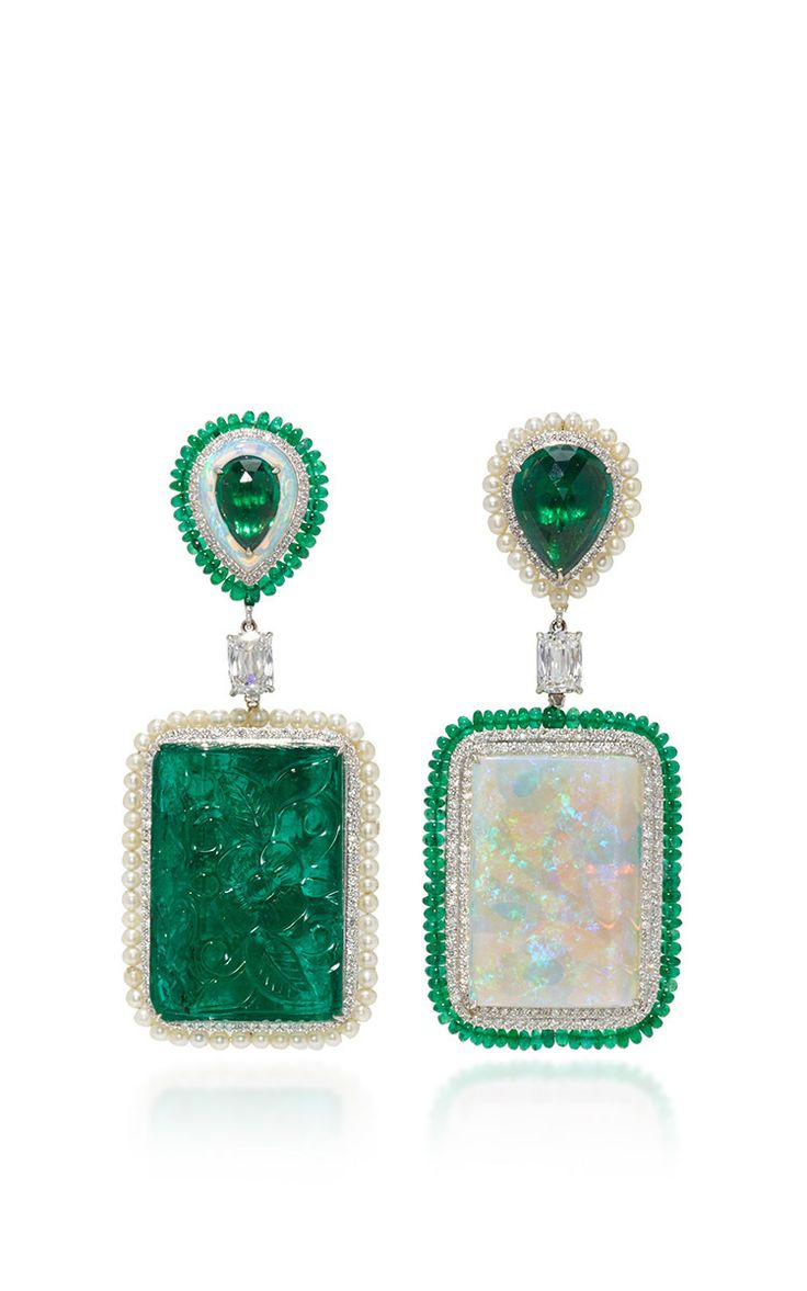 Carved emerald and opal infinity earrings by arunashi now available on moda operandi