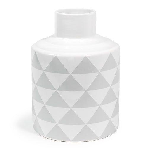 SCANDINAVE patterned dolomite vase in grey H 22cm