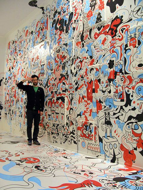 crazy, inspiring doodle wall by Jon Burgerman (pictured) and Sune Elhers