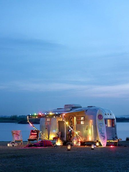 Def. need lights: Airstream, Campers, Rich Life, Trailers, Dreams, Travel Tips, Beaches Camps, Places, Travel Quotes