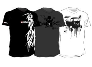 3 tee designs for a start-up company working on surf-related merchandise.