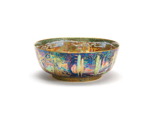 Daisy Makeig-Jones 'Woodland Elves V' Fairyland Lustre Imperial Bowl for Wedgwood PRINTED WEDGWOOD MARKS; CIRCA 1925 the interior decorated in the Woodland Bridge pattern with daylight background, the exterior in the 'Poplar Trees' pattern  diam 28cm