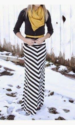 Street style   Chevron maxi skirt
