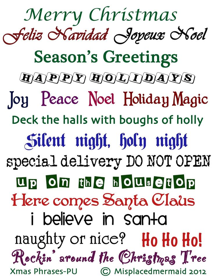 Misplaced Mermaid: Christmas Phrases Freebie