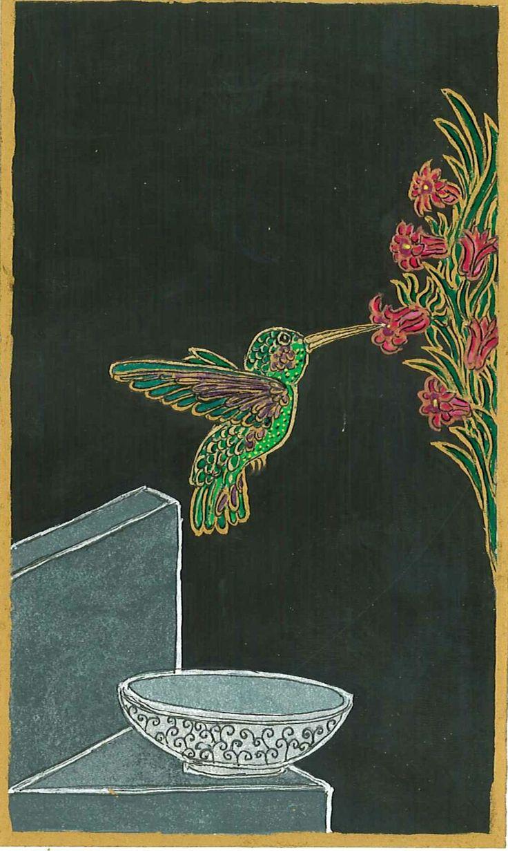 Kolibri, 2013 . Egy intenzív álomkép, kolibri röppent fel az éjszakába egy sírkőről