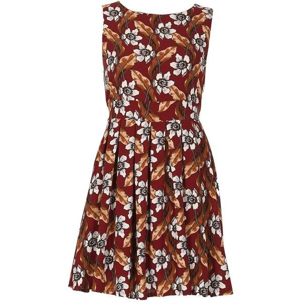 *Tenki Maroon Floral Skater Dress ($45) ❤ liked on Polyvore featuring dresses, red, zip back dress, round neck dress, floral pattern dress, floral print skater dress and floral day dress