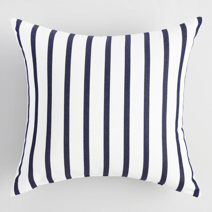 Sunbrella Indigo Lido Stripe Outdoor Throw Pillow