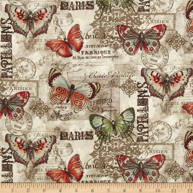 French Quarter Papillon Multi Natural from @fabricdotcom  Designed by Dover Hill for Benartex, this cotton print fabric is perfect for quilting, apparel and home decor accents. Colors include shades of mocha, cream, red, green, brown, and blue.