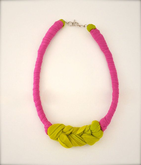 Neon Green Statement Necklace - Green Pink Braided Fabric Necklace