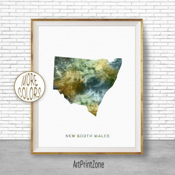 New South Wales Map Art, New South Wales Art Print, Home Decor, Wall Prints, Wall Art Home Wall Decor Watercolor Painting, ArtPrintZone #WatercolorPainting #HomeWallDecor #ArtPrintZone #ArtPrint #HomeDecor