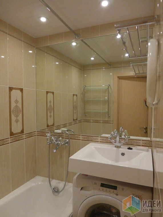 Ремонт ванной комнаты фото, большое зеркало в ванной, расширение пространства ванной