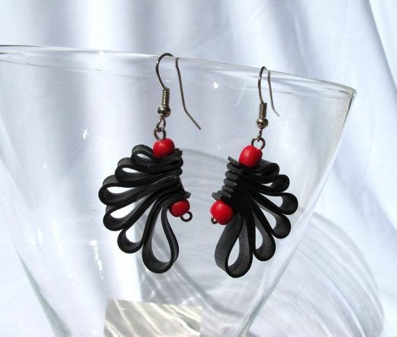 """Wings"" Recycled Bycicle Inner Tube Earrings  www.morganacrea.it"