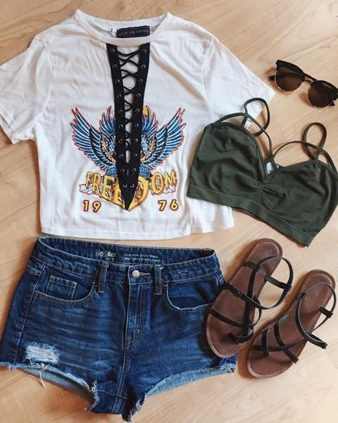 Freedom Lace Up Crop Top   Lace Up Tee, Festival Fashion, Summer Outfit, Festival Outfit #festivaloutfits
