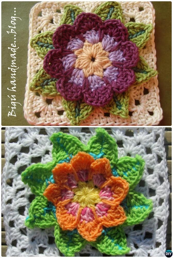 Crochet 3D Water Lily Flower Granny Square Free Patterns