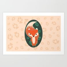 Fox with Paw Prints Art Print