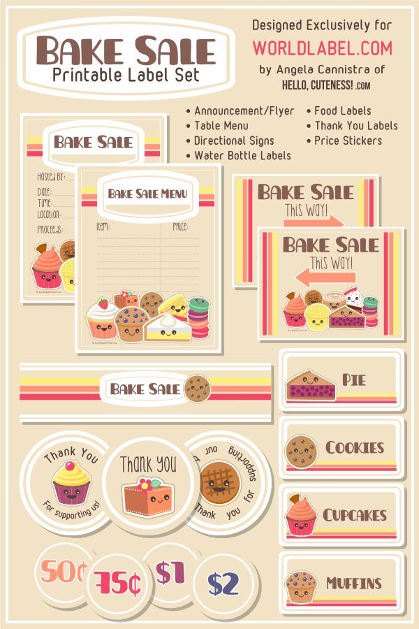 Bake Sale Label Set - designed by HelloCuteness.com (formerly AnythingbutPerfect.com) for exclusive download via WorldLabel.com.