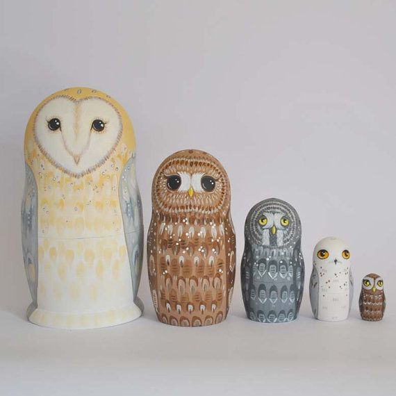 Owl Nesting Dolls (Matryoshka / Russian / Babushka dolls) - set of 5 hand painted wooden stacking owls