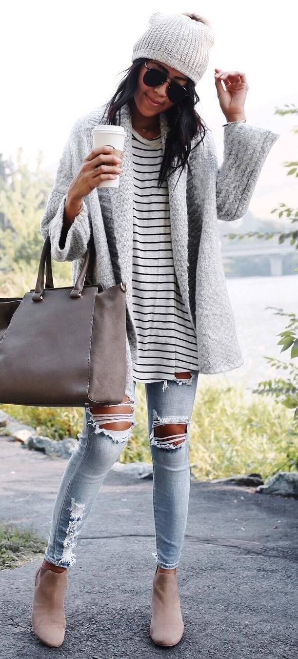 cozy outfit inspiration / knit hat  + cardi + stripped top + bag + ripped jeans + boots