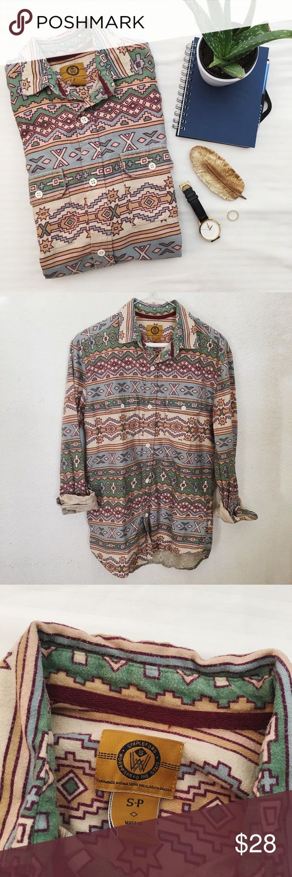 Tribal Print Longsleeves Urban Outfitters Tribal button up long sleeves Size: S (Men) Used; no sign of wear  Other items NOT included !!  All sales are final. NO return/ exchange  #uo #urbanoutfitters #me  #longsleeves #mensmall #tribalprint #menlongsleeveshirt Urban Outfitters Shirts Casual Button Down Shirts