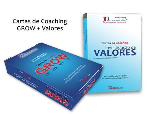 Adquira os dois jogos, aproveitando a promoção. Coaching prático e eficaz. Individual, a pares ou em contexto de formação.  Baralho de cartas GROW e baralho de cartas Investigação de Valores