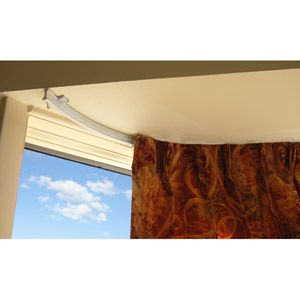 walmart flexible curtain track can be bent for ceiling mounted curtains above bed find this pin and more on bay window ideas curtains and rods