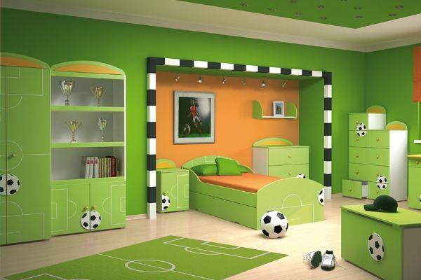 Jungenzimmer grün orange Fußball Spielplatz Black floh