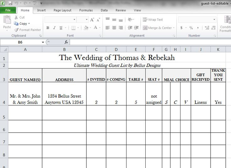 Printable Wedding Guest List | Two Handy Guest List Templates To