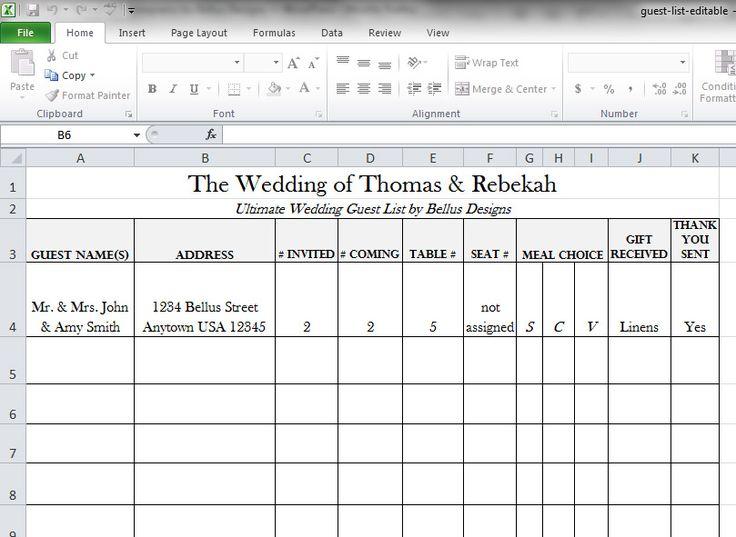 Free Downloadable Wedding Guest Rsvp List Wedding Wedding