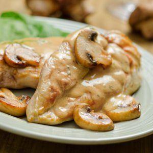 SAUCE FORESTIERE - Pour viandes blanches et viandes rouges (150 g de champignons (de Paris, girolles...), 1 cube de bouillon de volaille, 25 cl de crème, 2 c à c de fond de volaille (ou de veau), 1 échalote, beurre, poivre blanc)
