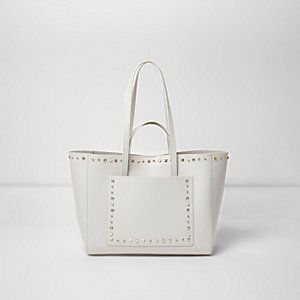 Cream leather studded winged tote bag, River Island, The Mall Luton