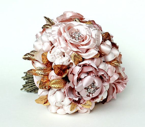 Grace Rose and Peony Gold Leaf Couture Jeweled by EmiciLivet