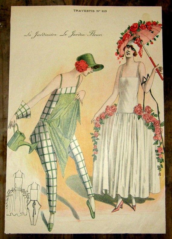 1920s French Masquerade Costume Print – La Jardinere & Le Jardin Fleuri