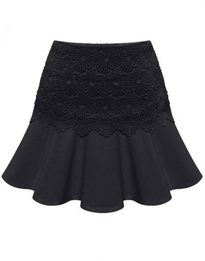 Black Casual Ruffle Lace Skirt <3