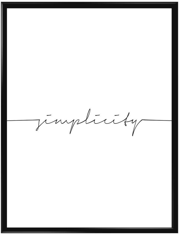 """En minimalistisk texttavla där det står """"Simplicity"""". Diskret men iögonfallande…"""