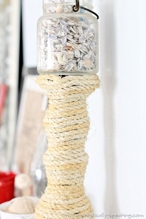 25 best naturally shabby rope twine diy images on pinterest good nautical rope candlestick nautical ropebeach craftsdiy solutioingenieria Image collections
