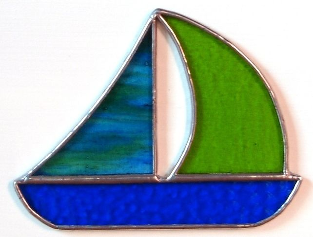STAINED GLASS BOAT WALL PLAQUE