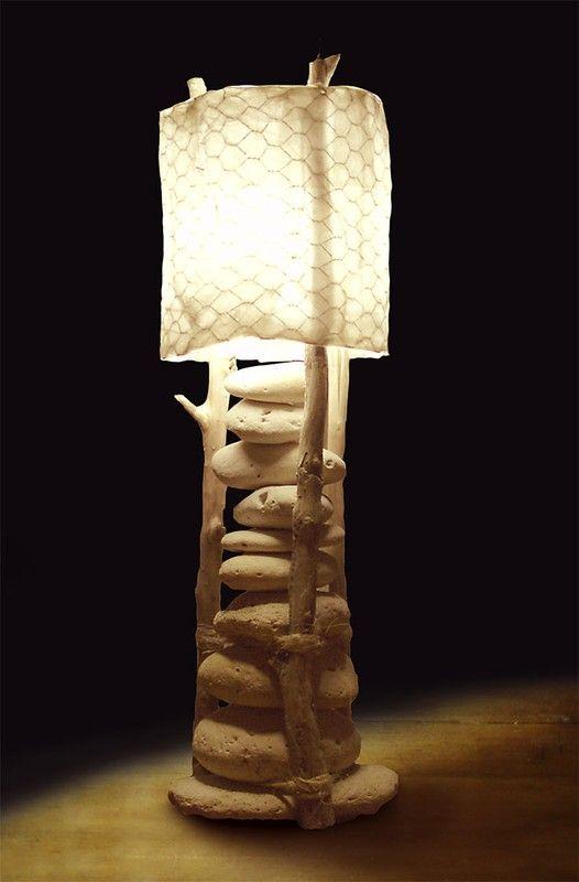 Les 25 meilleures id es concernant lampe galet sur for Lampe en bois flotte et galet