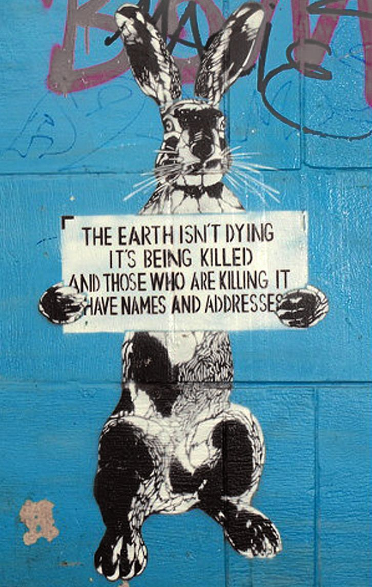 """""""The Earth isn't dying, it's being killed, and those who are killing it have names and addresses."""" Street art in Poland inspired by a quote attributed to singer/activist Utah Phillips. As fossil fuel users, we are all responsible for global warming, but there are some who profit off of intentionally blocking the transition to a low-carbon economy. These parties should be held legally (non-violently) responsible."""