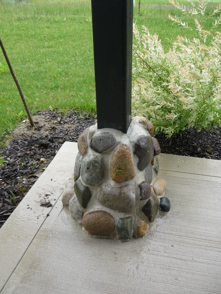 The base of our deck posts ... courtesy of the creative genius of Legacy Creations (Matthew Rosbergen)