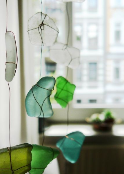 Seeglas - sea glass with wire