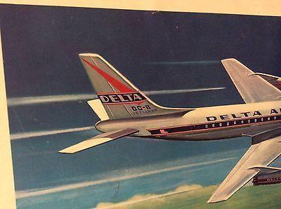 Vintage Delta Airlines Douglas DC-8 Print Circa 1959 • $60.00 ...