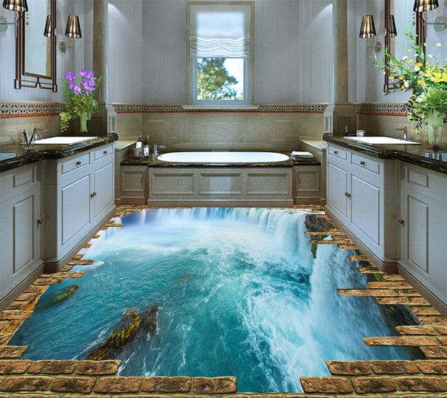 rev tement pour sol personnalis effet 3d la chute d 39 eau. Black Bedroom Furniture Sets. Home Design Ideas