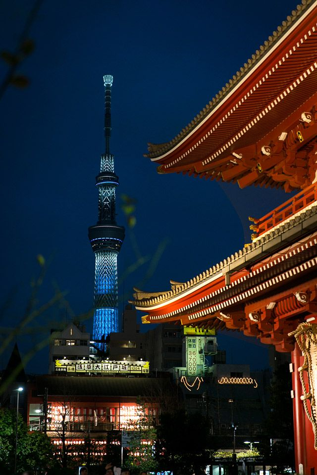 The View of Tokyo Skytree from Asakusa Senso-ji Temple. Sensoji Temple is the oldest Temple in Tokyo, and the street leading up to it is lines with little traditional shops and snacks.