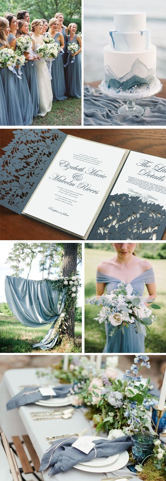 Dusty blue wedding palette. Dusty blue wedding invitations. Dusty blue bouquet. Slate blue wedding cake. Dusty blue bridesmaids dresses. Summer wedding. Spring wedding. Outdoor wedding. Elegant wedding. Fall wedding. Pocket fold invitations. Blue and silver wedding Romantic wedding. Invitations by Unica Forma
