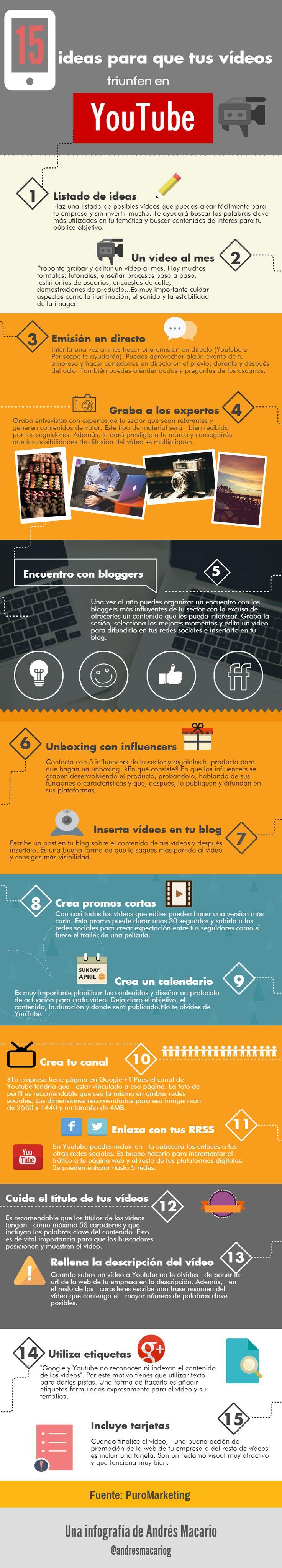 15 ideas para que tus videos funcionen en YouTube - #Infografia  de Andres Macario