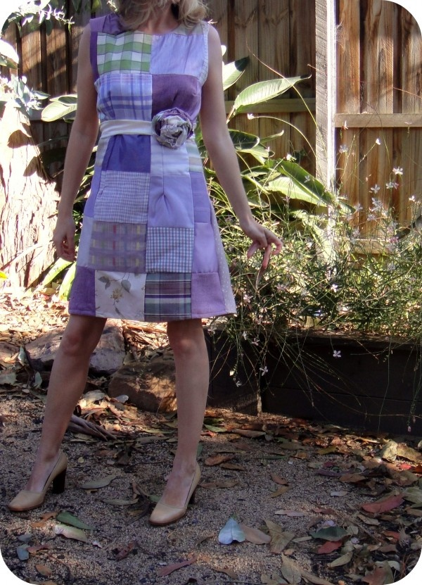 Dress made from upcycled upholstery samples