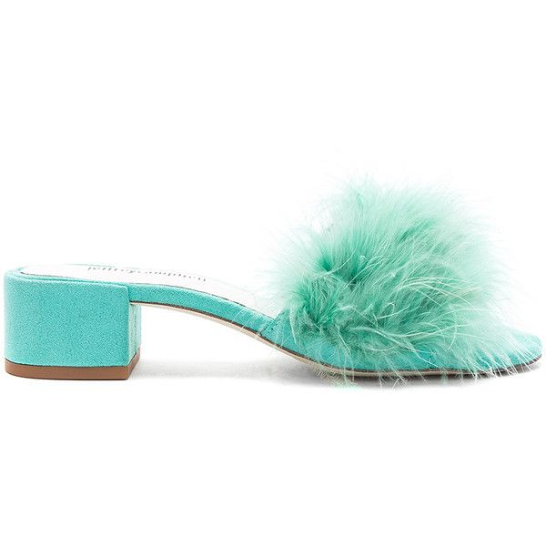 Jeffrey Campbell Beaton Sandal found on Polyvore featuring shoes, sandals, feather sandals, slip-on shoes, mid heel shoes, mid-heel shoes and jeffrey campbell sandals