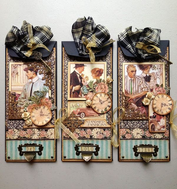"Father's Day Card Trio Tutorial using Graphic 45 ""A Ladies' Diary"" by Maria Cole."