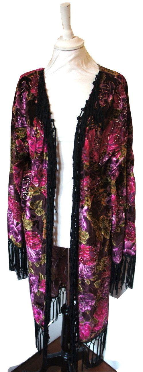#Kimono Fringe Devore Velvet Jacket Boho #Vintage