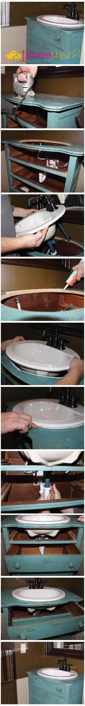 DIY. How to make a bathroom sink vanity from an old dresser. Step by step.
